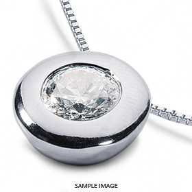 14k White Gold Solid Style Solitaire Pendant 0.62 carat D-VS2 Round Brilliant Diamond