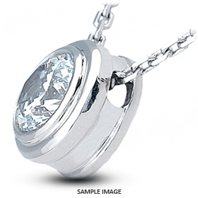 14k White Gold Solid Style Solitaire Pendant 0.91 carat G-VS1 Round Brilliant Diamond