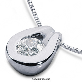 14k White Gold Solid Style Solitaire Pendant 1.76 carat H-SI1 Round Brilliant Diamond