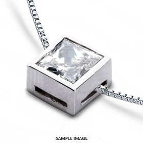 14k White Gold Solid Style Solitaire Pendant 0.80 carat F-VS1 Princess Cut Diamond