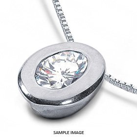 14k White Gold Solid Style Solitaire Pendant 0.63 carat D-VS2 Oval Shape Diamond