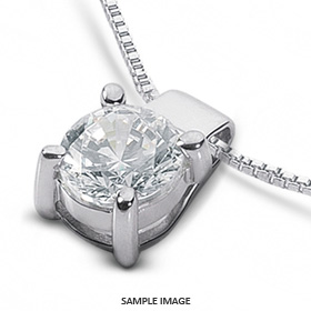 14k White Gold Classic Style Solitaire Pendant 0.81 carat F-SI1 Round Brilliant Diamond