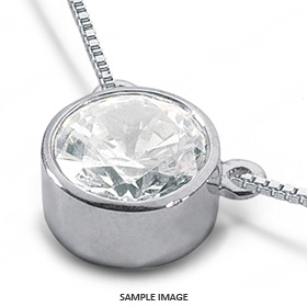 14k White Gold Solid Style Solitaire Pendant 0.53 carat D-SI1 Round Brilliant Diamond