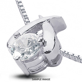 14k White Gold Classic Style Solitaire Pendant 0.74 carat F-VS2 Round Brilliant Diamond