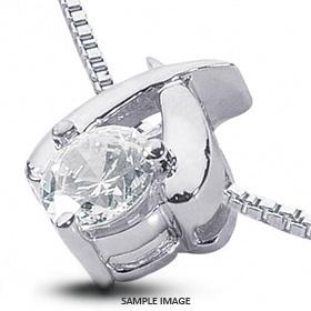 14k White Gold Classic Style Solitaire Pendant 0.74 carat F-VS2 Round Brilliant Diamond