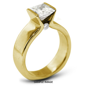 18k Yellow Gold Tension Style Solitaire Ring with 2.29 Carat H-SI1 Princess Diamond