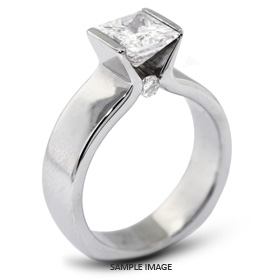14k White Gold Tension Style Solitaire Ring with 2.14 Carat F-VS2 Princess Diamond