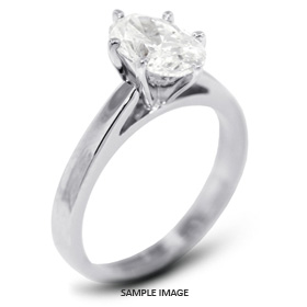14k White Gold Classic Style Solitaire Ring with 1.60 Carat F-VS2 Oval Diamond