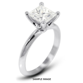 14k White Gold Classic Style Solitaire Ring with 2.00 Carat E-SI1 Princess Diamond