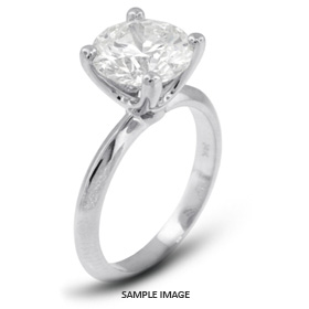 18k White Gold Classic Style Solitaire Ring with 4.02 Carat G-SI2 Round Diamond