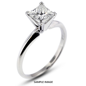 14k White Gold Classic Style Solitaire Ring with 0.70 Carat F-SI1 Princess Diamond