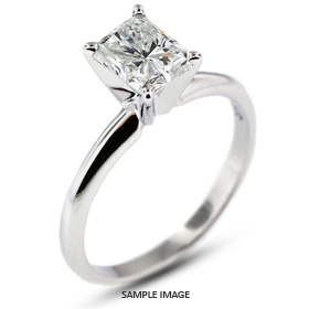 14k White Gold Classic Style Solitaire Ring with 1.54 Carat G-SI1 Rectangular Radiant Diamond