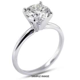 Platinum  Classic Style Solitaire Ring with 2.01 Carat H-SI1 Round Diamond