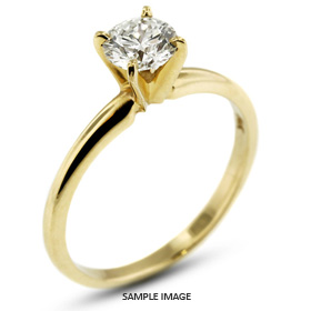 18k Yellow Gold Classic Style Solitaire Ring with 0.48 Carat D-SI2 Round Diamond