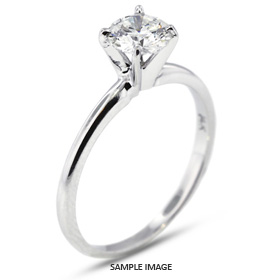 18k White Gold Classic Style Solitaire Ring with 0.54 Carat G-SI3 Round Diamond