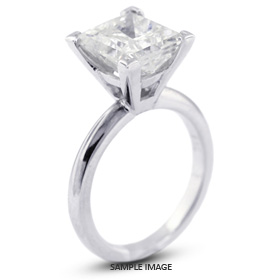 14k White Gold Cathedral Style Solitaire Ring with 2.71 Carat E-SI3 Square Radiant Diamond