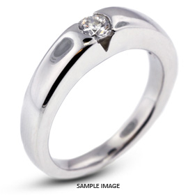 14k White Gold Tension Style Solitaire Ring with 0.56 Carat H-SI2 Round Diamond