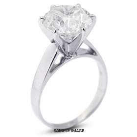 14k White Gold Cathedral Style Solitaire Ring with 2.10 Carat G-SI1 Round Diamond