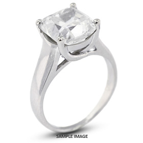 14k White Gold Trellis Style Solitaire Ring with 1.50 Carat K-SI2 Square Cushion Diamond
