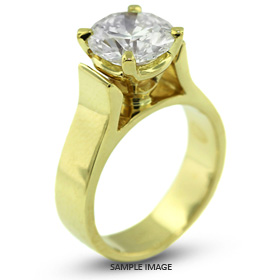 18k Yellow Gold Cathedral Style Solitaire Ring with 1.27 Carat G-SI2 Round Diamond