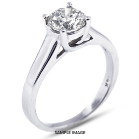 14k White Gold Trellis Style Solitaire Ring with 0.47 Carat H-SI2 Round Diamond