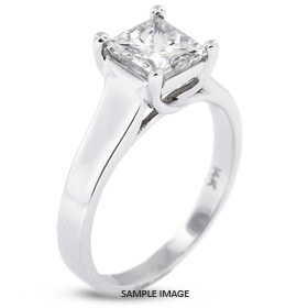 18k White Gold Trellis Style Solitaire Ring with 2.65 Carat E-SI1 Square Radiant Diamond