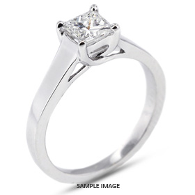 18k White Gold Trellis Style Solitaire Ring with 1.01 Carat I-VS2 Square Radiant Diamond