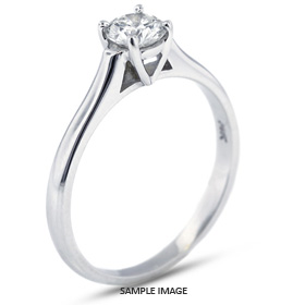Platinum  Cathedral Style Solitaire Ring with 0.56 Carat H-SI2 Round Diamond