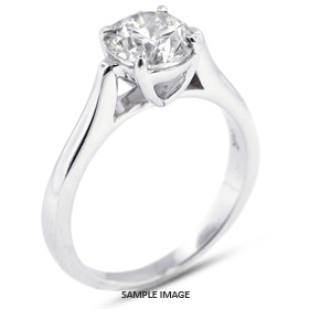 18k White Gold Cathedral Style Solitaire Ring with 1.51 Carat G-SI3 Round Diamond