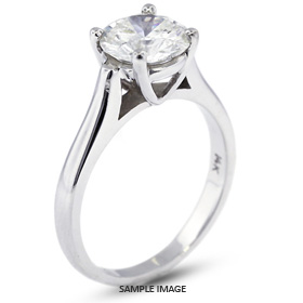 18k White Gold Cathedral Style Solitaire Ring with 2.02 Carat H-SI1 Round Diamond