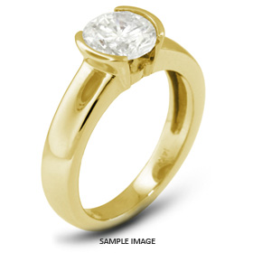 18k Yellow Gold Tension Style Solitaire Ring with 0.48 Carat D-SI2 Round Diamond