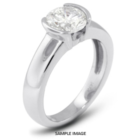 14k White Gold Tension Style Solitaire Ring with 0.47 Carat H-SI2 Round Diamond
