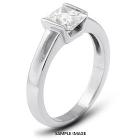 14k White Gold Tension Style Solitaire Ring with 1.62 Carat F-SI1 Princess Diamond