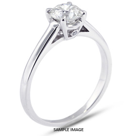 Platinum  Basket Style Solitaire Ring with 1.09 Carat E-SI1 Round Diamond
