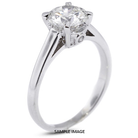 Platinum  Basket Style Solitaire Ring with 2.66 Carat F-I1 Round Diamond