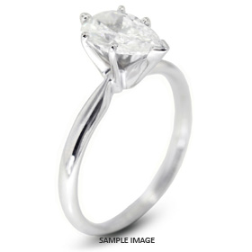 14k White Gold Classic Style Solitaire Ring with 1.74 Carat G-SI2 Pear Diamond