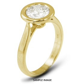 18k Yellow Gold Halo Style Solitaire Ring with 0.50 Carat E-SI1 Round Diamond