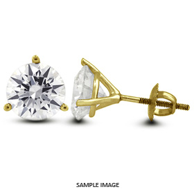 1.46 Carat tw. Round Brilliant Diamond Martini Style Stud Earrings 14k Yellow Gold (G-VS2)