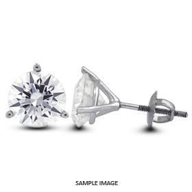 0.40 Carat tw. Round Brilliant Diamond Martini Style Stud Earrings 14k White Gold (E-VS2)
