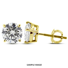 1.26 Carat tw. Round Brilliant Diamond Basket Style Stud Earrings 14k Yellow Gold (D-SI3)