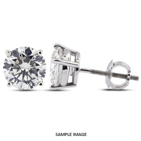 0.88 Carat tw. Round Brilliant Diamond Basket Style Stud Earrings 14k White Gold (E-SI1)