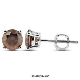1.26 Carat tw. Round Brilliant Diamond Basket Style Stud Earrings 14k White Gold (Red-VS2)