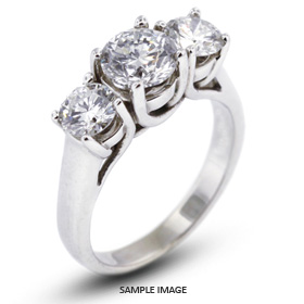 14k White Gold Classic Style Trellis Three-Stone Engagement Rings with 5.15 Total Carat J-I1 Round Diamond