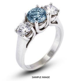 14k White Gold Classic Style Trellis Three-Stone Engagement Rings with 6.02 Total Carat Blue-SI1 Round Diamond