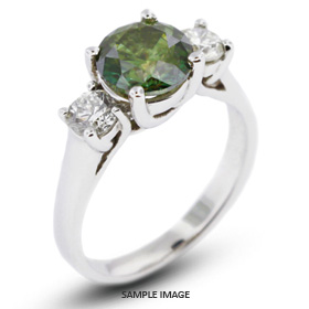 14k White Gold Classic Style Trellis Three-Stone Engagement Rings with 1.60 Total Carat Green-SI1 Round Diamond