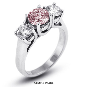 14k White Gold Classic Style Trellis Three-Stone Engagement Rings with 4.01 Total Carat Pink-SI2 Round Diamond