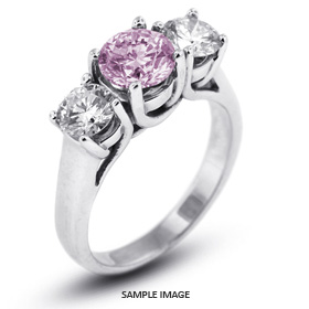 14k White Gold Classic Style Trellis Three-Stone Engagement Rings with 3.50 Total Carat Purple-SI1 Round Diamond