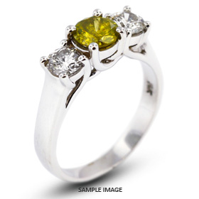 14k White Gold Classic Style Trellis Three-Stone Engagement Rings with 1.04 Total Carat Yellow-SI3 Round Diamond