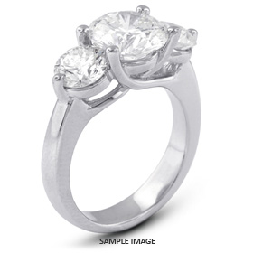 14k White Gold Classic Style Trellis Three-Stone Engagement Rings with 3.53 Total Carat G-I1 Round Diamond