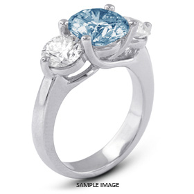 14k White Gold Classic Style Trellis Three-Stone Engagement Rings with 3.66 Total Carat Blue-SI2 Round Diamond